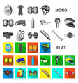 bicycle outfit flat icons in set collection for vector image