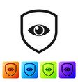 black shield and eye icon isolated on white vector image vector image