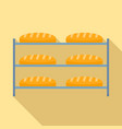 bread in factory shelf icon flat style vector image vector image