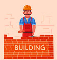 builder in a hard hat is building a brick wall vector image