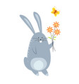 bunny with bouquet of flowers and flying butterfly vector image