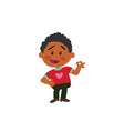 cartoon character black boy in approval attitude vector image