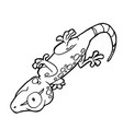 cartoon cute gecko coloring page vector image vector image