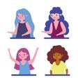 cartoon portrait group girls character vector image