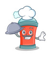 chef with food aerosol spray can character cartoon vector image