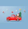 christmas red truck with santa claus vector image