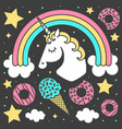 composition with unicorn and rainbow vector image