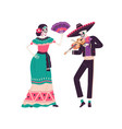 couple of mexican skeletons in costumes dance vector image vector image