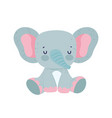 cute elephant sitting animal wildlife cartoon vector image
