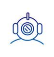 diving helmet marine life thick line blue vector image