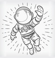 doodle floating astronaut simple sketch drawing