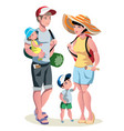 family vacation with children and suitcases vector image vector image