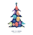 funny faces Christmas tree silhouette pattern vector image vector image