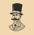 gentleman in vintage hat in engraving style vector image