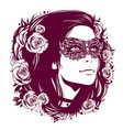 girl in vintage mask with hair decorated vector image vector image