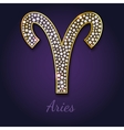 Golden Aries zodiac signs vector image