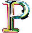 Grunge colorful font Letter P vector image vector image