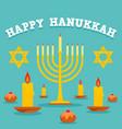happy hanukkah candles concept background flat vector image