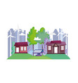houses city town wind turbine solar panel ecology vector image
