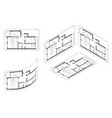 isometric architect blueprint plan home vector image