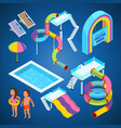 isometric pictures of water park various vector image vector image