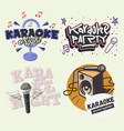 karaoke hand lettering set vector image