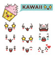 kawaii faces with positive and negative emotions vector image