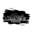 kinshasa congo city skyline silhouette hand drawn vector image vector image