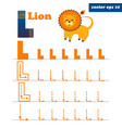 l letter with funny cartoon lion character vector image