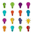lamp logo icons doodle set vector image vector image
