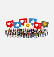 large group people with like thumb heart vector image vector image