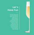 lets have fun advertisement poster champagne icon vector image vector image