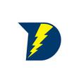letter d simple geometric thunder logo vector image vector image