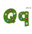 letter qq with a texture of grass and flowers vector image vector image
