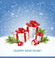 merry christmas and happy new year card with gift vector image vector image