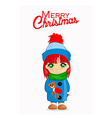Merry Christmas card with cute girl vector image vector image