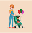 mother and daughter walking together flat poster vector image