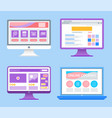 online education monitors with information set vector image