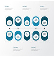 optimization icons line style set with network vector image