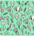 pattern with tulips and birds vector image