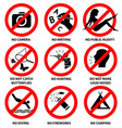 prohibition signs for park vector image vector image