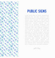 public signs concept thin line icons vector image vector image
