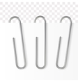 Realistic paper clip Metallic fastener on vector image