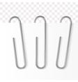 realistic paper clip metallic fastener vector image