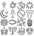 religious symbols line art vector image