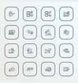 search icons line style set with bug fixing vector image