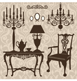 set of antique furniture vector image vector image