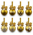 Set of realistic golden christmas balls vector image vector image