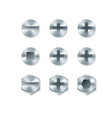 set screws and bolts nails isolated on white vector image