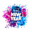 Sign Happy New Year in paper style on multicolor vector image
